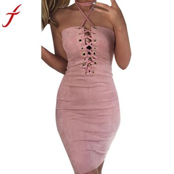 Sexy Women Off Shoulder Dress 2017 Summer Halter Bandage Bodycon Cocktail Sleeveless 4 Colors Sexy & Club Short Mini Dress