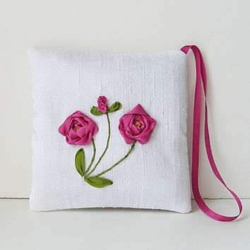Pink Roses Lavender Sachet silk ribbon embroidery