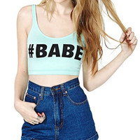 Mint Green Graphic Tee Sleeveless Crop Top
