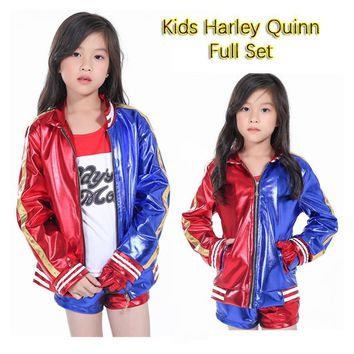 Cool Girls Kids Harley Quinn Costume Cosplay Joker Suicide Squad Harley Queen Halloween Purim Jacket T Shirt Sets Chamarras De BatmanAT_93_12