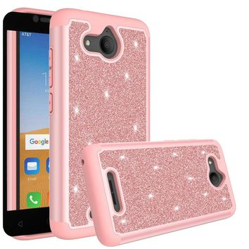 Alcatel Tetra Case, Tetra Glitter Bling Heavy Duty Shock Proof Hybrid Case with [HD Screen Protector] Dual Layer Protective Phone Case Cover for Alcatel Tetra W/Temper Glass - Rose Gold