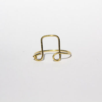 Gold Music Note Wire Ring
