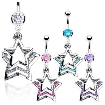 Triple Paved Dangle Star 316L Belly Ring