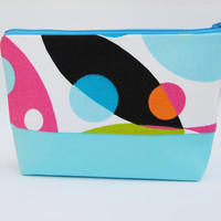 Hot pink, aqua blue, yellow, and green geometric circles cosmetic case / zipper pouch / clutch