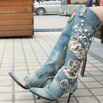 Winter New Blue Denim Kanye West Boots cowboy Women High-Heeled Shoes Sexy Zipper Knee High Boots