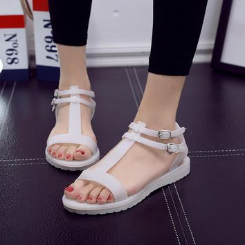 Jelly sandals women with flat plastic peep-toe