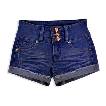 Cutie Patootie Dark Denim Three-Button Shorts - Toddler & Girls
