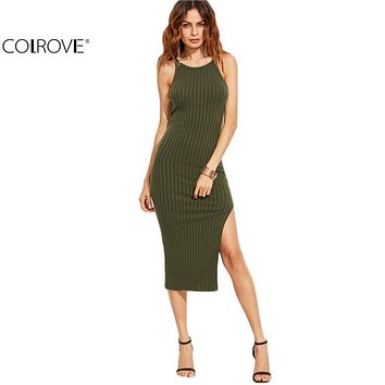 COLROVIE Women Sexy Bodycon Cami Dress Winter Autumn 2017 Women Fall Fashion New Designer Side Slit Ribbed Midi Dress