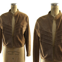 Motorcycle Jacket in Taupe Suede / Chevron by SpunkVintage on Etsy
