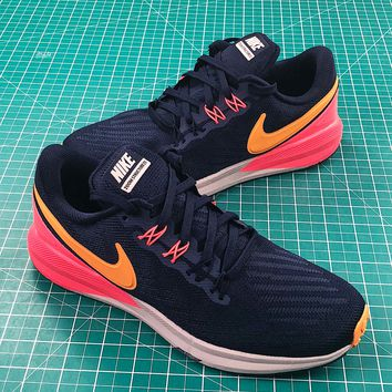 Nike Air Zoom Structure 22 Black Black Yellow Red Running Shoes - Best Online Sale