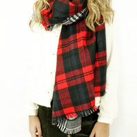 CYBER DEAL Study Abroad Red Plaid Blanket Scarf