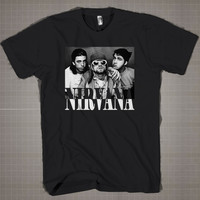 Nirvana-kurt-cobain-dave-grohl  Mens and Women T-Shirt Available Color Black And White