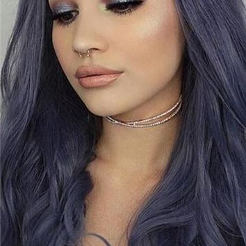 Long Dark Blue Wave Synthetic Lace Front Wig