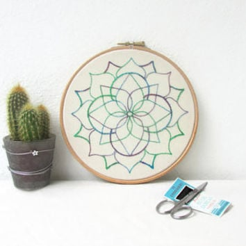 Mandala embroidery wall art, hand embroidery art, mandala wall hanging, bright modern embroidery, New home gift, handmade in the UK