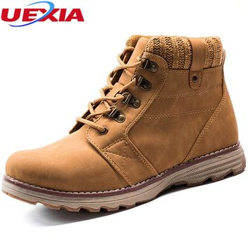 UEXIA Men Boots Solid Outdoor Casual Ankle Boots Martin Man Vintage Style Chelsea Shoes Mans Footwear masculina Fashion Working