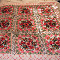 """Chain Stitch Embroidered Tablecloth Colorful Floral Table Cover cloth linen textile Suzani Tamour Embroidery 88"""" x 79"""""""