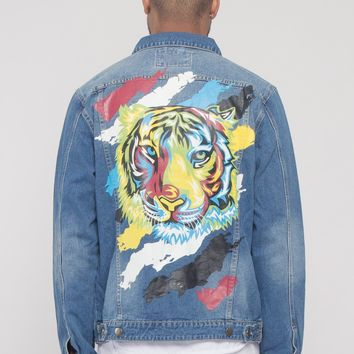 Colorful Painted Tiger Denim Jacket
