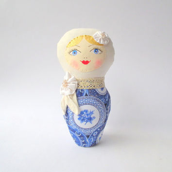 Babushka russian doll, Matryoshka rag doll. Plush toy. Blue willow pattern cloth. Handmade OOAK doll for home decor, nice gift