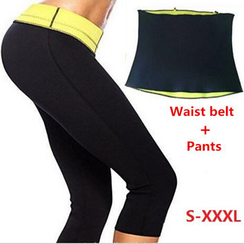 Pants + Waist Belt Hot Shapers Short Pants Set Women's Slimming Sets Body Shaper Waist Corsets Plus Size XXL XXXL