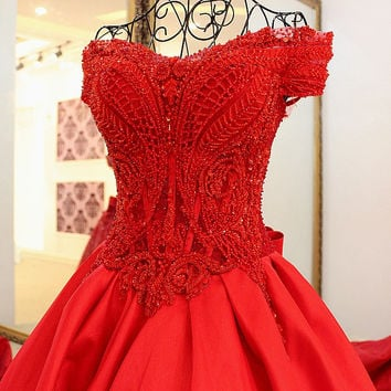 New design Red Evening Prom dresses 2017 spring and summer Real photo Party gown bride red dinner party long evening dress