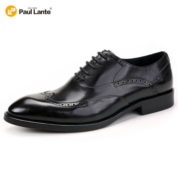 2016 Branded Design Men's Casual Patent Full Grain Leather Oxfords Fulll Brogue Wing Tip Lace Up Pointed Toe Oxford Shoe For Men