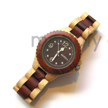 Handmade Wood Watch, Maple & Red Sandalwood, Unique, No two are the same, Minimalist, Gift, Present, Wedding, High Quality, Wooden Watch, S2