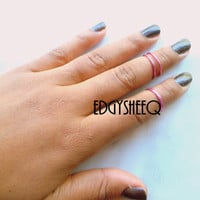 Pink Knuckle Ring, Adjustable Finger Ring, Slim Stackable rings, Edgysheeq statement rings for everyday Flair