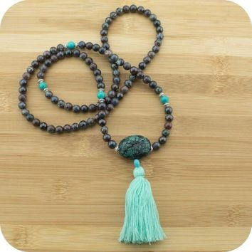 Chrysocolla Mala with Stabilized Turquoise