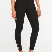 High-Rise Lattice-Trim 7/8-Length Compression Leggings for Women|old-navy