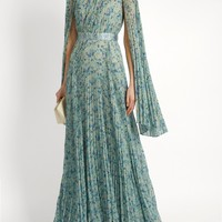 Floral-print pleated georgette gown   luisa beccaria   MATCHESFASHION.COM US