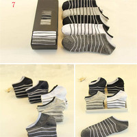 2016 New Mens Comfortable Spring Summer Sports Casual Stripe Ankle Socks (5 PCS) Socks-48