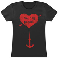 Mayday Parade  Heart Anchor Girls Jr Black Rockabilia