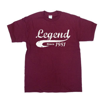 Legend Since 1981 Shirt 35th Birthday Gift 35 Years Old Custom T Shirt Gifts For Birthday Humor Funny Cool Mens Ladies Unisex Tee - SA128