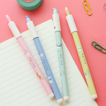 0.35mm Aihao Black Blue Korean Cute Kawaii Gel Ink Pens For Writing School Office Supplies Stationery For Kids Student