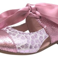 Chupetin 9371 Silver Pink Shimmer Sparkle Patent Leather Slip On Ballerina Ballet Flats