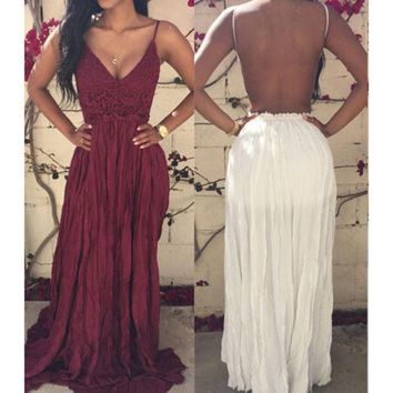 VONEFC2 SEXY LACE BACKLESS SPLICING CHIFFON DRESS