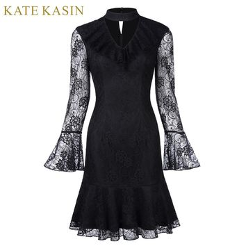 Short Cocktail Dresses Black Long Sleeve Formal Prom Knee Length Lace Mermaid Cocktail Party Dress