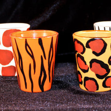 Hand Painted Animal Print Shot Glasses
