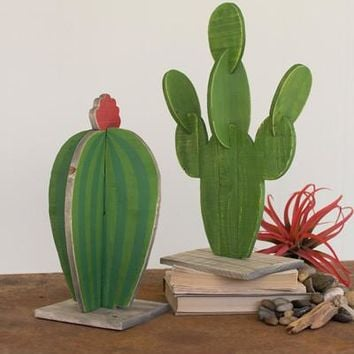 Set Of 2 Painted Wooden Cactus