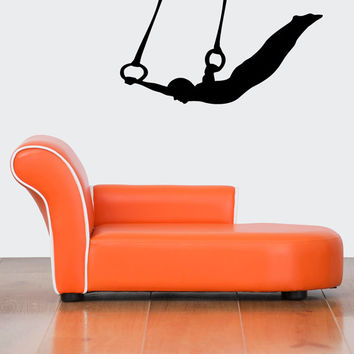 Wall Decor Vinyl Sticker Room Decal Gymnast Flying Man On Swing Gymnastics Stretch 1322