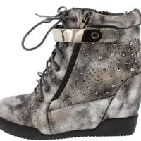 Side Zip Studded Metallic Wedge Sneakers