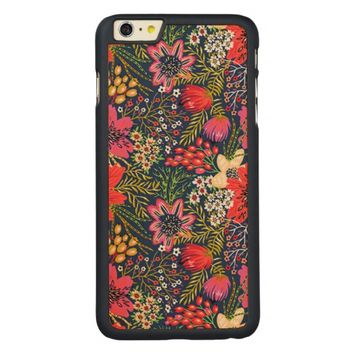 Vintage Bright Floral Pattern Fabric Carved Maple iPhone 6 Plus Case