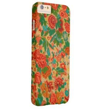 Vintage Flowers Orange and Green Floral Pattern Barely There iPhone 6 Plus Case
