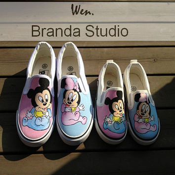 Christmas Gifts-Family Custom,Mickey,Two Pair Of Shoes-Hand Painted Shoes Cartoon Slip-on Shoes Custom Shoes,kids shoes,Flat Shoes