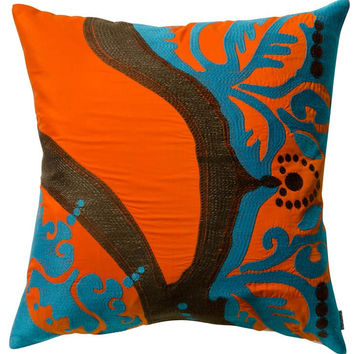 Koko Company Coptic Cotton 18 by 18 inches Pillow, Turquoise, Brown, Red, Lime