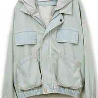 Hooded Loose Denim Outerwear$58