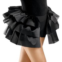 Three-Tier Black Satin Bustle Skirt; Balera