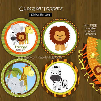 Safari Zoo Jungle Cupcake toppers with Free Cupcake Wrapper - Wild Animals Party Cupcake Toppers for Birthday or Baby Shower