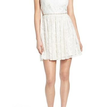 Dear Moon Embellished Waist Lace Skater Dress | Nordstrom
