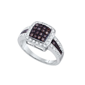10k White Gold Cognac-brown Colored Diamond Womens Cluster Square-shape Cocktail Ring 1/2 Cttw 65686